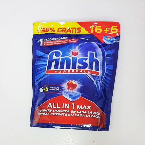 Finish  lavavajillas Powerball All in 1 Max 16+6 pastillas