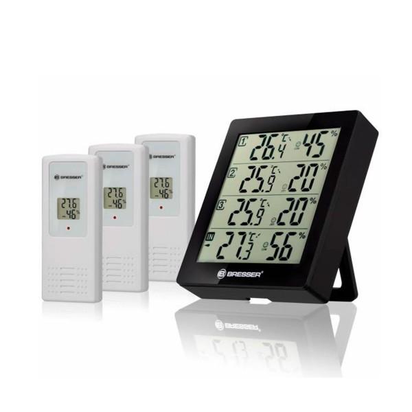 Bresser temeo hygro quadro negro/estación meteorológica + 3 sensores