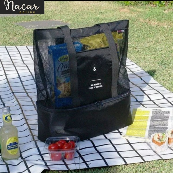 Bolso nevera transparente de malla de alta capacidad , bolsa grande de doble capa con preservación de calor para playa, Picnic, almuerzo y oficina