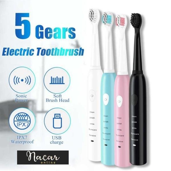 Cepillo de dientes eléctrico ultrasónico, recargable, lavable, blanqueamiento de dientes electrónico, temporizador.
