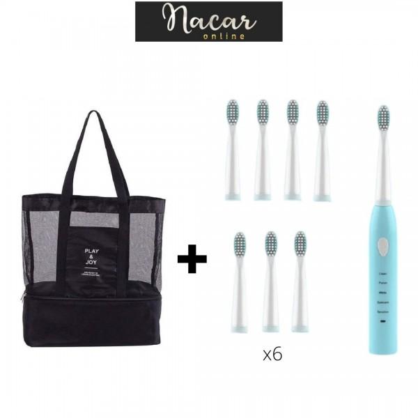 Cepillo de dientes eléctrico + Bolso nevera transparente de malla de alta capacidad