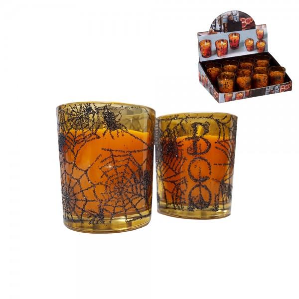 Vela halloween 5x6cm vaso cristal  euro/u