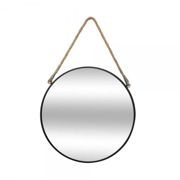 Espejo redondo negro con cuerda diam.38cm