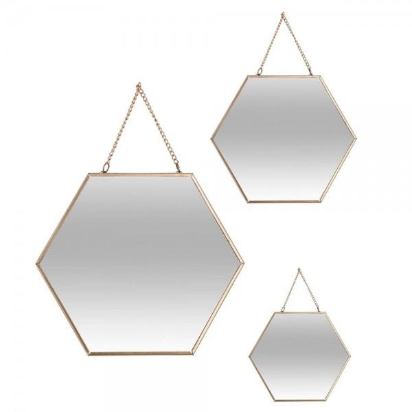 Set 3 espejos oro hexagonales 19,8x17,5cm/25x22,5cm/29,5x26cm