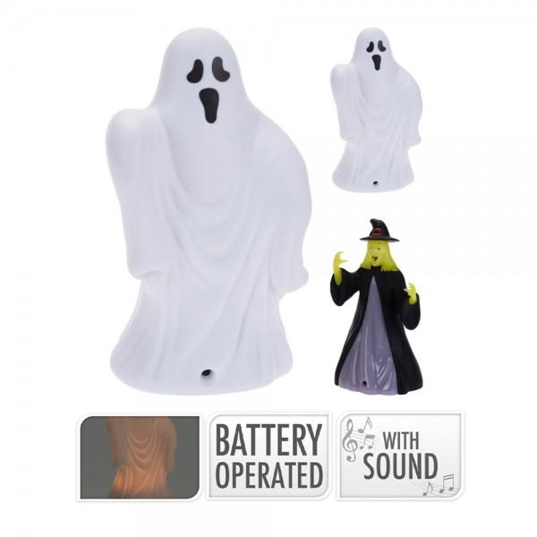 Linterna halloween 14cm con led y sonido modelos surtidos
